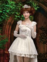 Ecru White Bow Straps Neck Sleeveless Cotton Blend Lolita One-Piece