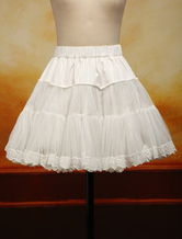 Lolitashow White Organza Lolita Petticoat Embroidery Trim