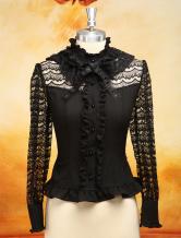 Lolitashow Dandy Black Long Sleeves Chiffon Lolita Blouse