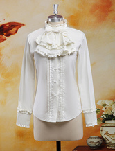 Lolitashow Coton Blouse manches longues Stand collier volants Bow