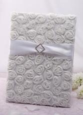 White Rose Design Ribbon Wedding Guest Book