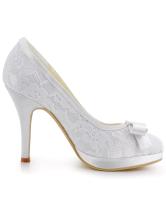 ... Douce dentelle blanche Round Toe soie et Satin pompes pour mariée -No.4  ...
