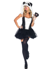Anime Costumes AF-S2-377371 Halloween Fabulous Black Faux Fur Woman's Panda Costume