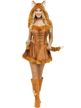Anime Costumes AF-S2-377373 Halloween Quality Light Tan Faux Fur Catwoman Costume for Woman