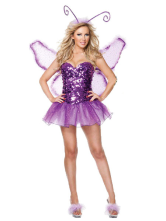 Anime Costumes AF-S2-378315 Halloween Amazing Purple Butterfly Woman's Sexy Costume