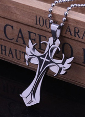 Cool Gray Curcifix Stainless Steel Necklace for Man