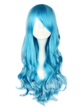 Lolitashow Dandy Ocean Blue Long Curly Rayon Lolita Wig
