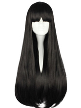 Lolitashow Pure Black Lolita Long Straight Wig Blunt Bangs Face Framing