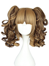 Lolitashow Sweet Brown Rayon Lolita Wig Curls Two Ponytails