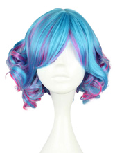 Lolitashow Short Curly Multi Color Rayon Fashion Lolita Wig