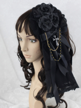Lolitashow Black Flower Great Mesh Lolita Headdress