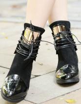 a3562d2b9cc0 ... Fantastique noir ronde plates bottines Toe PU lacets cuir femme -No.2  ...