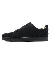 Уникальный черный Monogram замши круглый носок шипованных кроссовки для человека