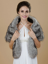 Faux Fur stole Wedding Gray shrug Bridal Jacket
