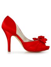 ... Rouge Peep Toe soie et Satin pompes nuptiales-No.4 ...