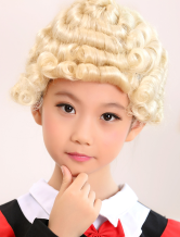 Anime Costumes AF-S2-390261 Light Gold Short Full-Volume Curls Kanekalon Halloween wig For Kids