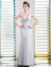 Sexy Light Slate Gray Deep V-Neck Beading Mermaid Satin Evening Dress Milanoo