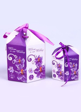 20-Piece Hexagon Purple Paper Wedding Favor Box