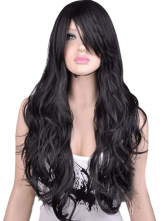 Anime Costumes AF-S2-394053 Cosplay Black Synthetic Full-Volume Curls Woman's Long Wig