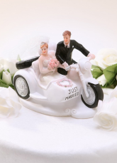 Resin Couple in Motocycle  Athletic Wedding Cake Topper