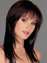Anime Costumes AF-S2-400715 Natural Brownish Black Straight Chic Heat-resistant Fiber Woman's Medium Wig