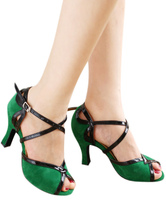 Sapatos Bloco de cor verde peep toe Mary Jane Terry Sapatos de dança 2020 latina profissional