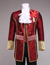 Anime Costumes AF-S2-403267 Retro Prince Costume Men's Burgundy Jacquard European Vintage Royal Costume Outfit