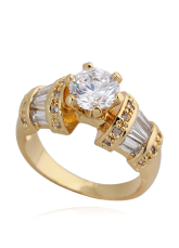 Gold Round Glass Round Brilliant Bronze Glamourous Fashion Ring
