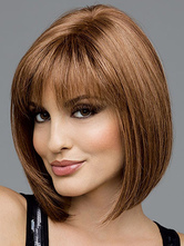 Centro de fibra resistente ao calor marrom linda peruca curta de despedida para as mulheres