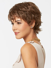 Светло-коричневые синтетические парики 2021 Женские слоистые короткие вьющиеся волосы Парики