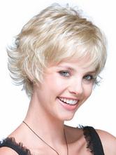 Fibra resistente ao calor branco bege Natural peruca curta para as mulheres