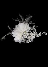 Белое перо кружева Потрясающе волос цветок