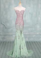 Moda salvia Sweetheart collo paillettes sirena in Chiffon Prom Dress