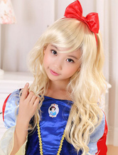 Anime Costumes AF-S2-409675 Lovely Light Gold Kanekalon Side-swept Bangs Chic Long Halloween wig