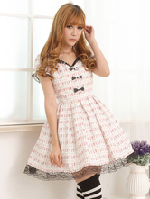 Lolitashow Light Pink White Lolita OP Dress Short Sleeves Lace Trim Bows