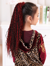 AF-S2-409681 Dark Red Tousled Corkscrew Curls Kanekalon Medium Pony-Tail