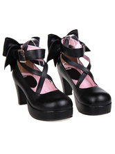 Sweet Platform Heels Lolita Shoes Ankle Straps Round Toe