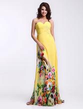 Elegant Daffodil Sweetheart Neck Beading Sheath Chiffon Prom Dress  Milanoo