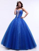 Vestido de noiva casamento vestido querida assoalho-comprimento bola vestido de princesa azul Sequin concurso vestido Milanoo