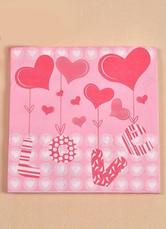Pink 20-Piece Love Print Specialty Paper Wedding Napkins