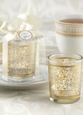 Gold Floral Glass Candle Favors