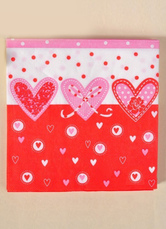 20-Piece Beautiful Heart Print Specialty Paper Red Wedding Napkins