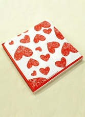 20-Piece Red Hearts Print Specialty Paper Wedding Napkins