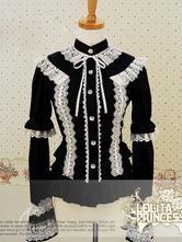 Lolitashow Gothic Buttons Lace Pure Cotton Lolita Dress