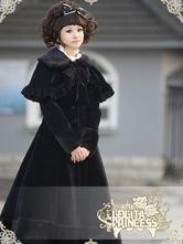 Veste lolita en polyester noir avec noeud à volants