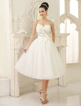 High Quality Ivory Sweetheart Neck Tea-Length Flower Embellishment Tulle Wedding Dress For Bride with Bowknot Milanoo