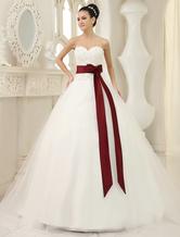 Bola de marfim elegante vestido querida pescoço laço capela trem tule vestido de casamento nupcial  Milanoo