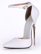 White PU Leather Pointed Toe Ankle Strap Sexy Pumps