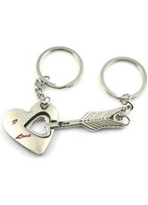 4-Pair Arrow Heart Pattern Metal Keychain Favors for Wedding