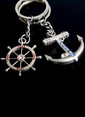 4-Pair Anchor Pattern Metal Wedding Keychain Favors
